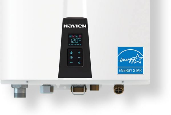 A Navien brand tankless water heater.