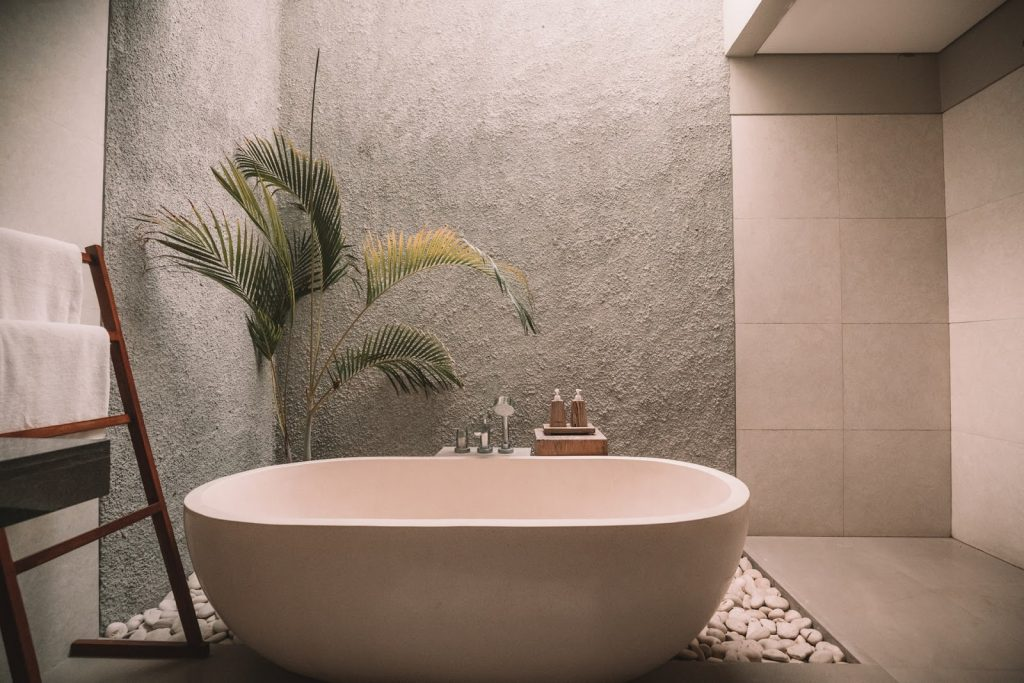 Home spa bathroom with a large soaker tub.